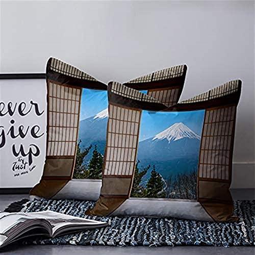 Juego de 2 fundas de almohada divertidas para colocar Fuji Snow Mountain Green Forest Blue Sky Cloud Japonés de madera para puerta de coche, 45,7 x 45,7 cm