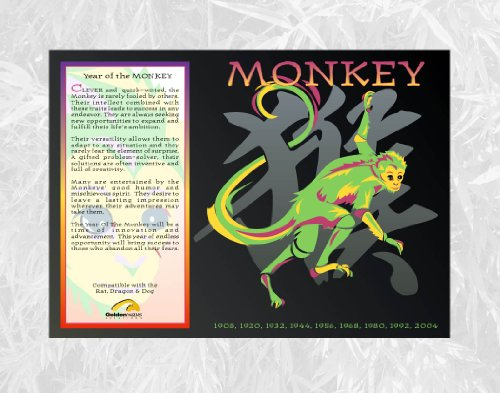 Goldenwave Creations Asian Oriental Chinese Zodiac Poster Year the Monkey: 1932, 44, 56, 68, 80, 92, 04, 2016 Chinese Zodiac Year Monkey