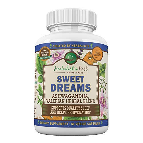 Sweet Dreams by Herbalist's Best   Natural Sleep Aid Herbal Supplement with Valerian Root Ashwagandha Lemon Balm Passion Flower & More   Non Habit Forming   Adrenal Support  Stress Relief Zen & Calm