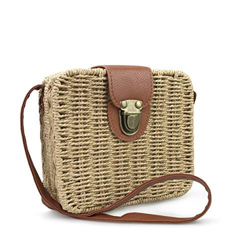 Hoxis Retro Straw Portable Small Box Woven Womens Cross Body Bag Shoulder Messenger Satchel (Brown)