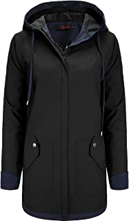 AUU Women's Rain Jacket Waterproof Hooded Raincoat Lightweight Outdoor Patchwork Windbreaker with Lined and Pockets