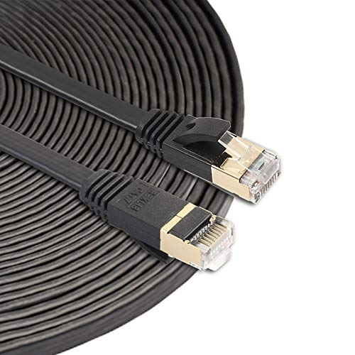 QIAOZHOO 15m CAT7 10 Gigabit Ethernet Cable de conexión Ultra Plano for Red LAN de enrutador de módem - Construido con Conectores RJ45 Blindados (Negro) (Color : Black)
