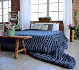 "Chunky Knit Blanket Soft Bulky Hand Made Merino Wool Throw for Bedroom Sofa Decor Super(Navy 40""x40"")"