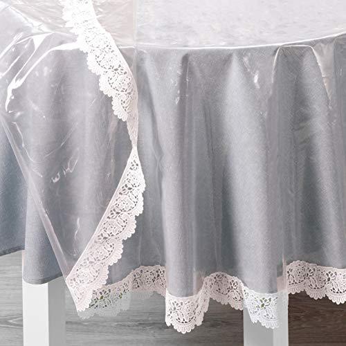 DecoHomeTextil Pey Glasklare Schutztischdecke Tischdecke Tischfolie Schutztischdecke mit weißer Vinylspitze 0,15 mm Rund 160 x cm abwaschbar