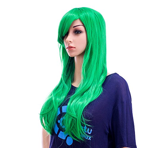 SWACC 26-Inch Long Curly Wave Cosplay Synthetic Wig Colored Hair Piece for Women with Wig Cap (Green)