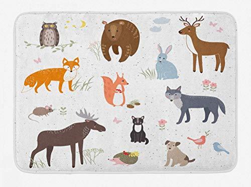 Alfombra de baño de cabina, animales en la pradera de primavera infantil Woodland Fauna, habitación de bebé para niños, guardería, alfombra de decoración de baño de felpa con respaldo antideslizante,