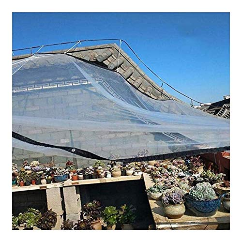 BH Waterproof PE resistant transparent tarpaulin Moisturizing balcony Rain pergola fabric Car cover Metal buttonhole, 23 sizes, customizable (Color: transparent, Dimensions: 4x8m)