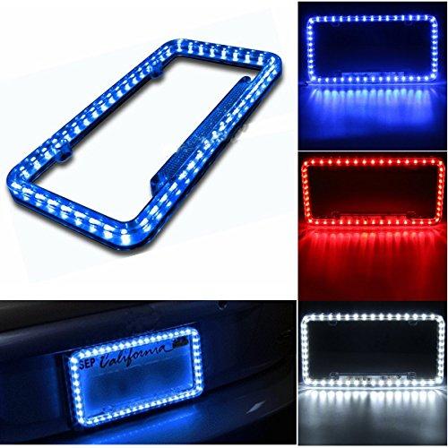 Follicomfy 12 V 54 LED Color Light License Plate Frame Acrylic Plastic License Plate Cover-Blue
