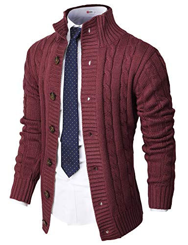 H2H Mens Casual Slim Fit Cardigan Sweater Cable Knitted Button Down Stand Collar Wine US L/Asia XL (CMOCAL035)
