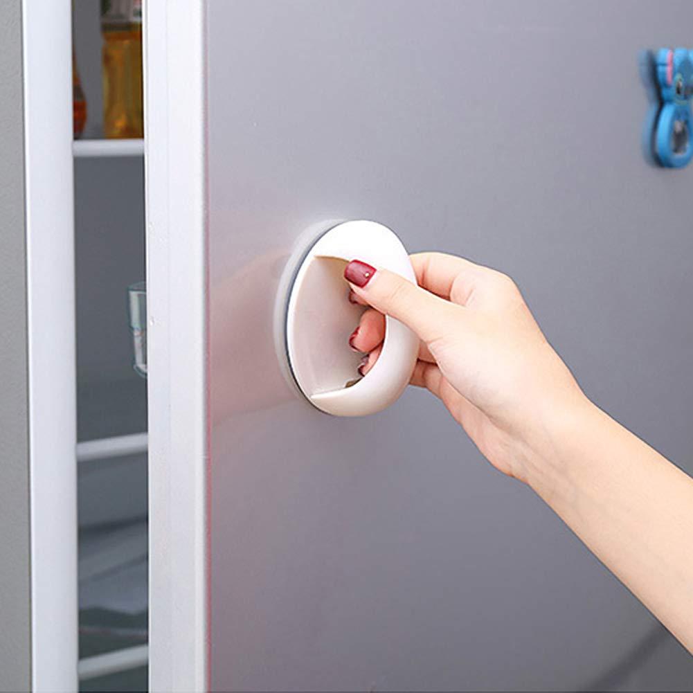 ZAK168 - Juego de 2 tiradores autoadhesivos para gabinetes y cajones, práctico para el hogar, cocina, mango instantáneo, auxiliar, para puertas, ventanas, armarios, frigoríficos, color blanco: Amazon.es: Hogar