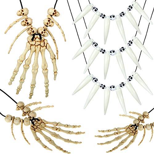 6 Piezas Collar de Hueso de Mano Esqueleto de Calavera Collar de Dientes de Oracin de Tribu Collares Pendientes de Esqueleto Cabeza Mano Hueso Encanto Esqueltico Hueso Disfraz Joyera de Halloween