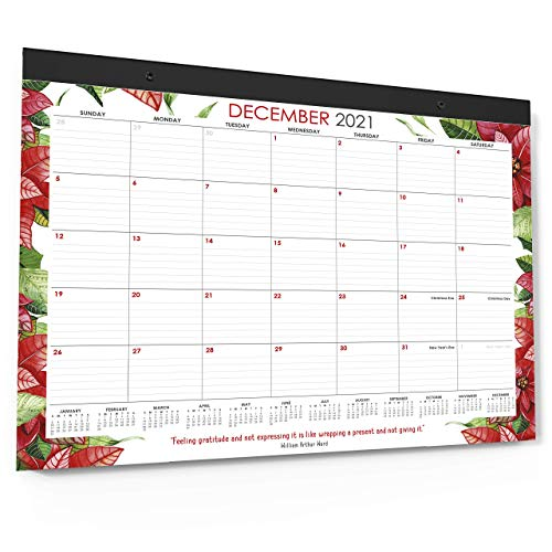 Wordsworth & Black 2021 Monthly Desk/Wall Calendar Watercolor Flowers 56cm x 43cm- Desktop Pad Blotter with Notes Section - Academic -Family- Business, Planning - Organizing for Home, Office (Large)