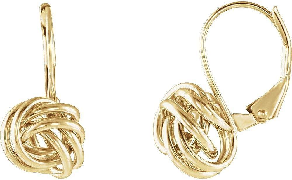 10mm Forever Love Knot Infinity Twist Promise Lever Back Earrings (18mm x 10mm)