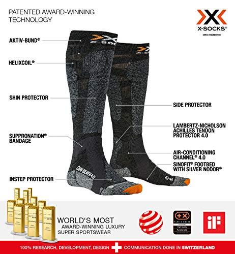 X-Socks Carve Silver 4.0 Invierno Calcetines De Esquí, Hombre, Anthracite Melange/Black Melange, 45/47