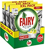 Fairy Platinum Limón 204 - Pastillas para lavavajillas, Maxi formato de 68 x 3 cápsulas de detergente