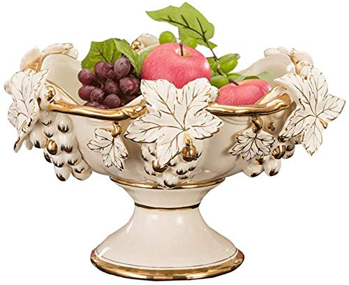 Frutas planas fruta plana - plato ancho con uvas de estilo europeo en relieve con lujosas decoración de cerámica estante vegetal para cocina fruta verduras artículos de tocador de almacenamiento de ba