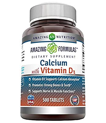 Amazing Formulas Calcium with Vitamin D3 Tablets - Supports Calcium Absorption* -Promotes Strong Bones & Teeth* -Supports Nerve & Muscle Functions*