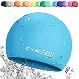 CybGene Silikon Badekappe für Kinder, Kind Schwimmkappe Bademütze für Kinder Schwimmunterricht-Marine