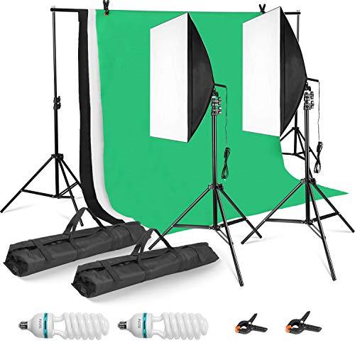 MVPower Profi Fotostudio Set inkl. 2 x 2m Hintergrundsystem mit 1.6 x 3m Reiner Baumwolle greenscreen Hintergrund, 5500K Softbox für Fotostudio, Produktfotografie und Videoaufnahme