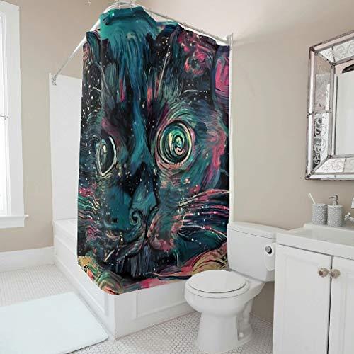 O3XEQ-8 Cortina de ducha con estampado multicolor, lavable, con anillas, para baño de adultos y niños, color blanco, 180 x 180 cm