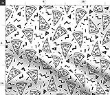 Spoonflower Stoff - Pizza Party Schwarz Weiß Formen 90er