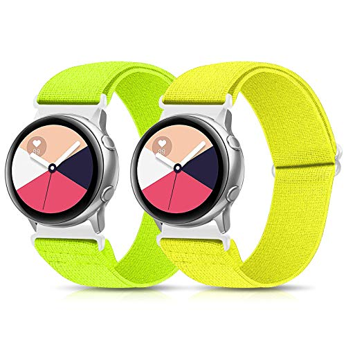 XFYELE 22mm Nylon Elastic Watch Band Compatible for Samsung Galaxy Watch 3 (45mm)/Gear S3 Frontier/Galaxy Watch 46mm, Adjustable Stretchy Replacement Straps (Grass Green + Yellow, 22mm)