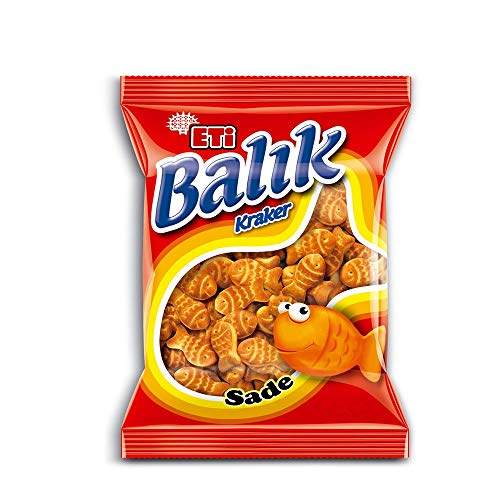 Eti Fish Shaped Cracker – 1.4 oz Eti Balık Kraker 40 Gr Pack of 32 -Delicious Crunchy Biscuit Snacks …