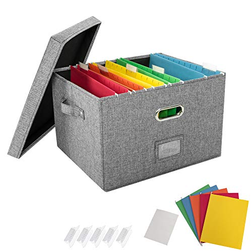 JSungo File Organizer Box Office Document Storage with 5 Hanging Filing Folders, Collapsible Linen Storage Box with Lids, Home Portable Storage with Handle, Letter Size Legal Folder, Grey