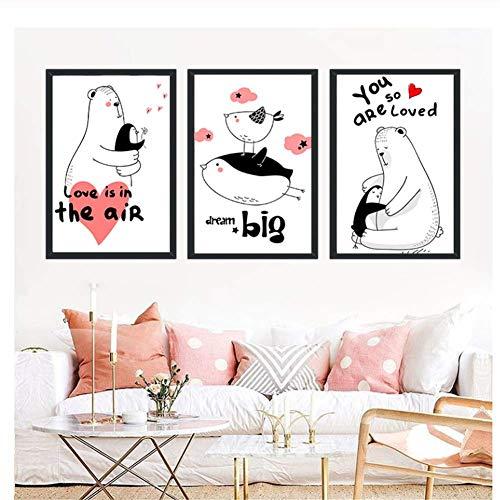 nr Scandinavisch linnen schilderij pinguïn ijsbeer vogel decor poster afbeelding wooncultuur kinderen woonkamer slaapkamer 40 x 50 cm x 3 frameloos