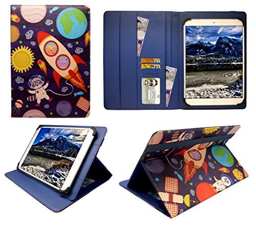 Sweet Tech Logicom M Bot Tab 100 / M Bot Tab 102 / M Bot Tab 103 Tablet 10.1 Zoll Karikatur Astronauten Universal Wallet Schutzhülle Folio (10-11 Zoll)