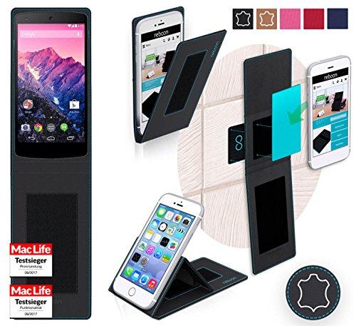 reboon Hülle für LG (Google) Nexus 5 Tasche Cover Case Bumper | Schwarz Leder | Testsieger