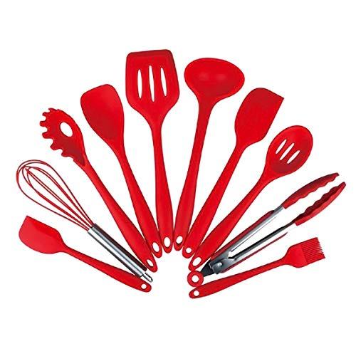 HaiQianXin 10 Teile/Satz Küchenutensilien Set Silikon Serviergeschirr Antihaft-Spachtel Pasta Gabel hitzebeständige Kochutensilien (Color : Red)