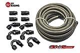 -6 AN6 PTFE Black Swivel Fittings + Stainless Steel Fuel Line Hose Kit 20FT PTFEAN6_KIT_DA