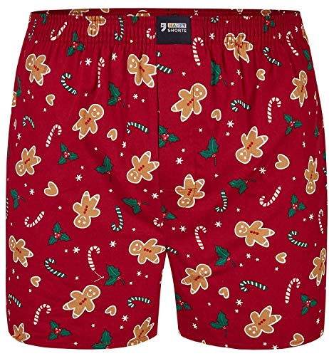 Happy Shorts Herren American Boxer Boxershorts Shorts Webboxer Weihnachten X-Mas Geschenk Lebkuchenmann - Gingerbread Man, Grösse:L - 6-52, Präzise Farbe:Lebkuchenmann - Gingerbread Man