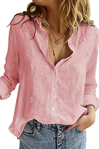 Uusollecy Bluse Damen Sommer, Langarm V-Ausschnitt Blusehemd, Casual Baumwolle Button-down Langarmshirt, Einfarbig Loose Oberteile Tops Shirts Für Frauen Teen Girls Rosa S