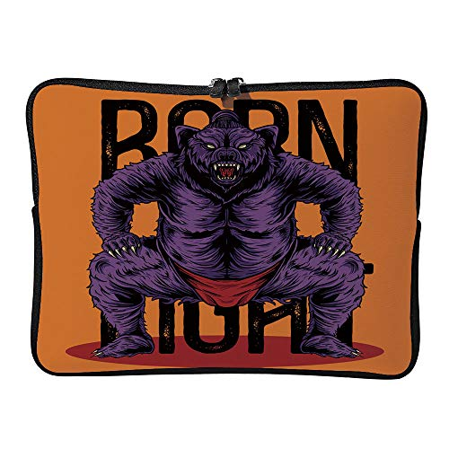 AmaUncle Sumo Bear Japanese Style Vector Illustration Laptop Sleeve Case Neoprene Carrying Bag for Any Tablet/Notebook SW81704 17 inch/17.3 inch
