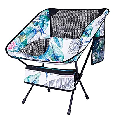 KABOER Outdoor Portable Camping Chair, Folding Camping Chair, Lightweight Backpacking Chair, Heavy Duty Compact Camp Chair for Hiking Picnic Beach Finishing and Travel with Carry Bag(Hawaiian Style)