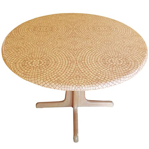 Fitted Tablecloths Round - Fits 44 to 48 inch Tables (Terracotta)
