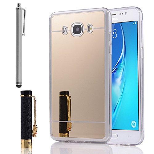 Annart beschermhoes gemaakt van siliconen met achterkant, spiegeleffect, randen van zachte silicone, voor Samsung Galaxy J5 (2016) J510FN + stylus - goud