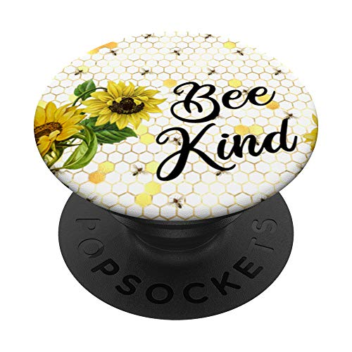 Be Kind Quotes Honeycomb Flower Sunflower Yellow Bee Kind PopSockets PopGrip: Agarre intercambiable para Teléfonos y Tabletas