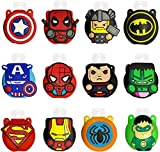 Pack of 12 Cute Cartoon Kids Portable Travel Keyring Containers,Sold with 30 ml Empty Bottles, Perfect for School, Travel, Outdoor, Camping.The Avenger (12 Superhero) (12 Pack)
