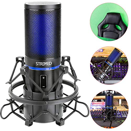STRMD USB Microfoon (Cardioid), Pop Up Green Screen, Shock Mount, Tripod Mic Stand, Scissor Mic Stand, Pop Filter & Wind Shield ideaal voor Zoom, Skype, Twitch & YouTube apparatuur, ST-VLOG-SSK