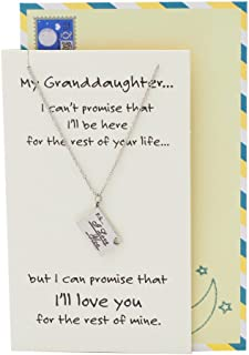 Quan Jewelry Granddaughter Engraved Gifts, PS I Love You Pendant Charm, Stainless Steel, Inspirational Quote on Greeting Card, 16-in to 18-in