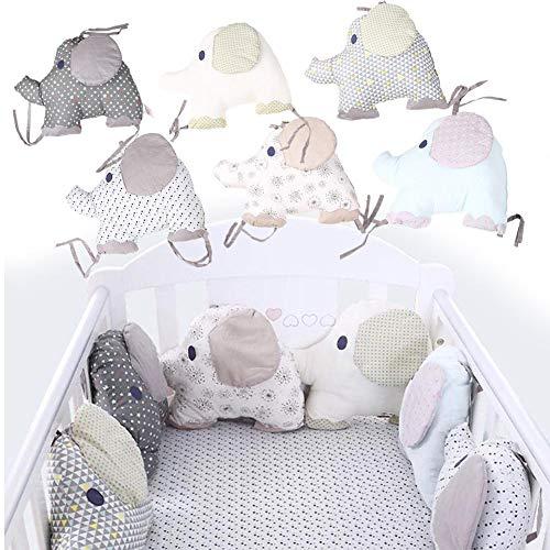 Bettumrandung Nest Kopfschutz Nestchen Babybett, 6 Stück Baby Nestchen Bettumrandung Baumwolle für Babybetten, Bettnestchen Baby Kantenschutz Bettausstattung, Elefant