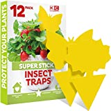 Fruit Fly Traps Indoor (12 Pack), Yellow Sticky Traps for Gnats, Gnat Killer for Indoor - Fruit Fly Trap for Kitchen - Fungus Gnat Traps House Plants, Yellow Sticky Fly Traps for Indoor Plants Insects