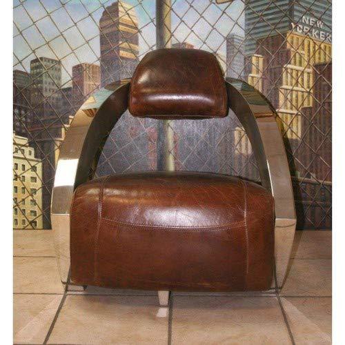 Prestige Club AVIATOR Sessel aus braunem Antik-Leder, Untergestell aus Chrom.