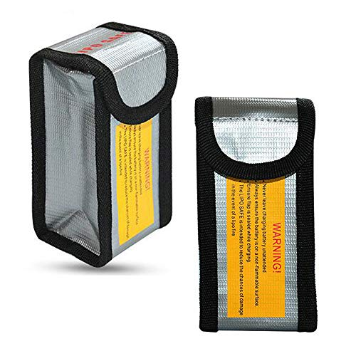 Fireproof bag LiPo Battery Bag for DJI Spark, Battery Safe Storage Bag LiPo Guard Pouch, 2 PCs (125 x 64 x 50 mm)