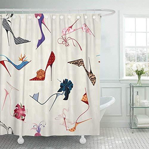 ABRAN Dekorative Bad Schuh High Heels Stiletto Blumenband Frauen Pump Silhouette Polyester Stoff Set mit Haken