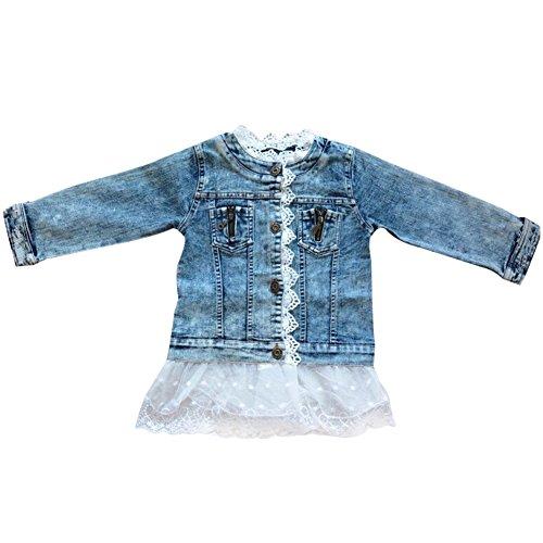 SXSHUN Giacca di Jeans Corta Bambina Giacca Denim con Pizzo di Fiori Giacca Romantica per Primavera, Blu, 140cm/7-8 Anni