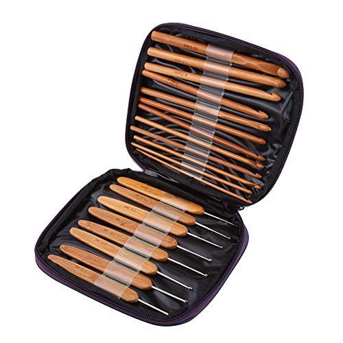 Juego de 20 ganchillos y agujas de crochet de bambú, agujas de tejer, para manualidades, con funda